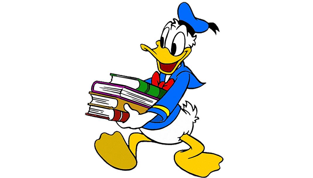 glad kalle anka bär böcker
