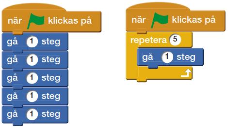 Två programmeringsblock med instruktioner