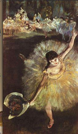 Originalet: Edgar Degas porträtterer en arabesque med ballerinan Rosita Mauri, Fin d'Arabesque, 1877, Musée d'Orsay.