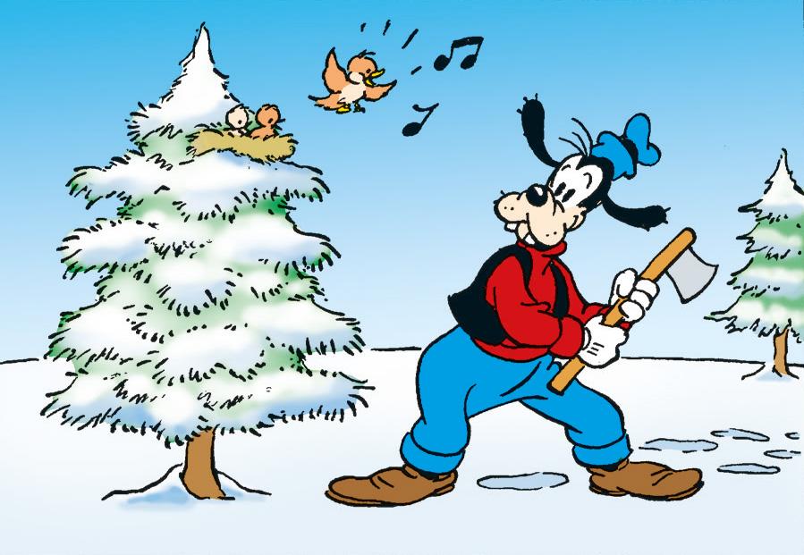 Följ med när Långben letar efter julgran!